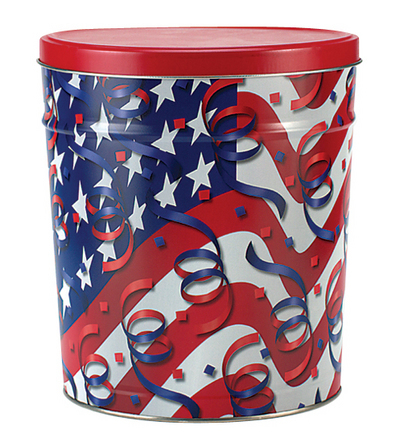 Flags and Streamers Popcorn Tin