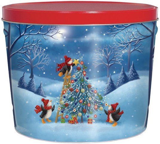 Penguins Tree Trimming Popcorn Tin